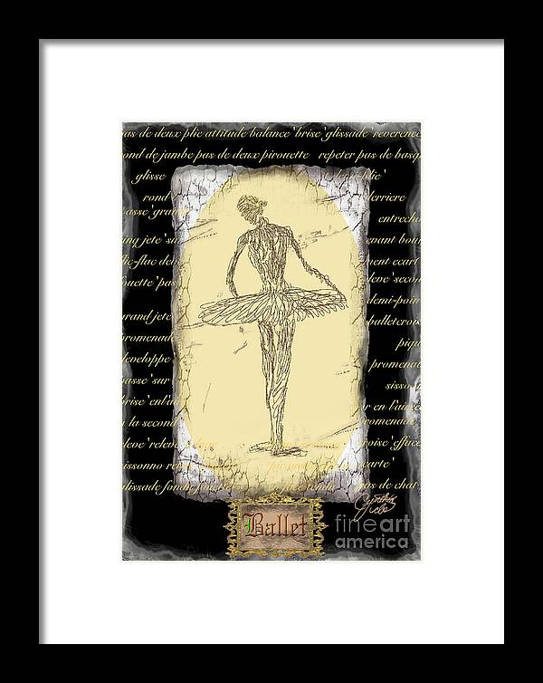 Ballet Framed Print featuring the digital art Antique Ballet by Cynthia Sorensen