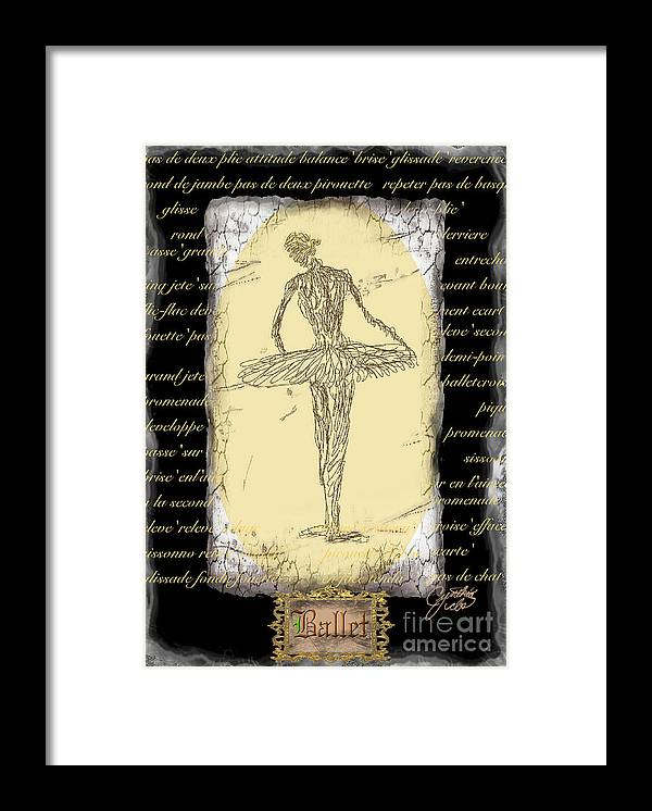Ballet Framed Print featuring the digital art Antique Ballet by Cynthia Sorensen