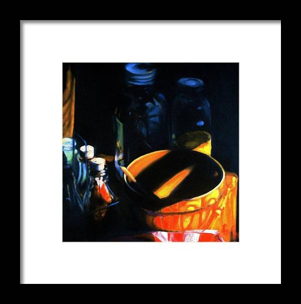 Still Life Framed Print featuring the painting Antique Crock And Mason Jar by Patricia Reed