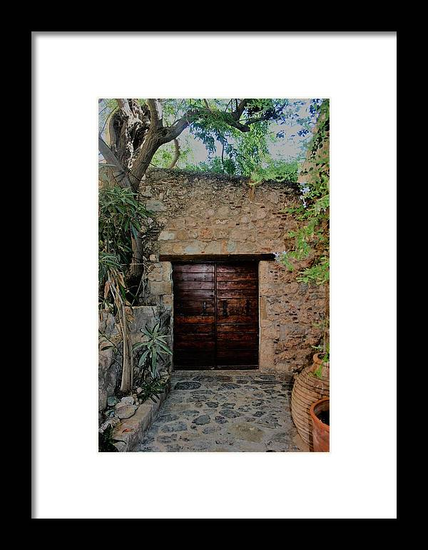 Wood Door /greece Framed Print featuring the photograph Antique Door by Judith Lowrey