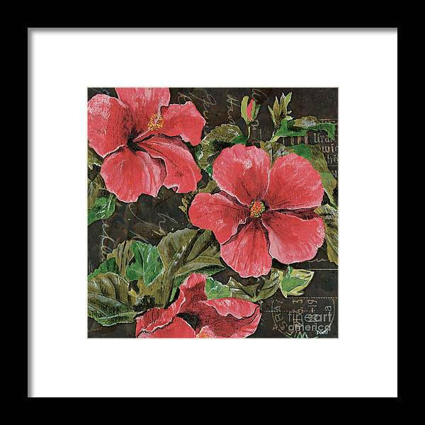 Floral Framed Print featuring the painting Antique Hibiscus Black 2 by Debbie DeWitt