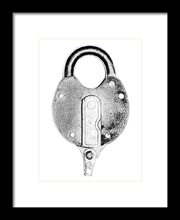 Lock Framed Print featuring the photograph Antique Lock Grayscale On White by Denise Beverly
