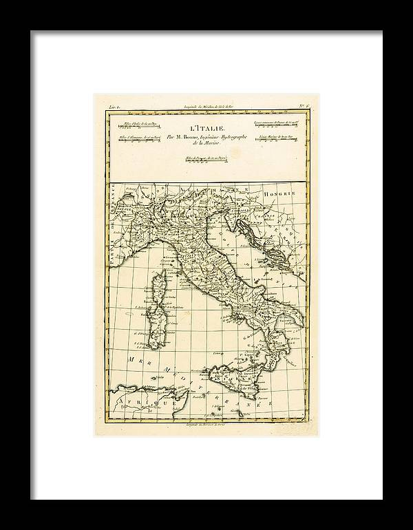 Maps Framed Print featuring the drawing Antique Map Of Italy by Guillaume Raynal
