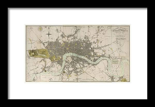Antique Map Of London - Old Cartographic Maps - London In Miniature ...