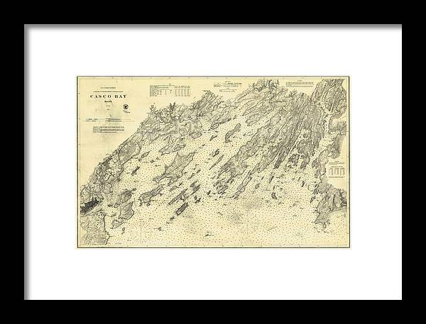 Antique maps old cartographic maps antique map of casco bay antique map of casco bay framed print featuring the drawing antique maps old cartographic maps freerunsca Image collections