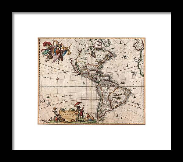 Antique Map Of North America Framed Print featuring the drawing Antique Maps - Old Cartographic maps - Antique Map of North and South America, 1658 by Studio Grafiikka