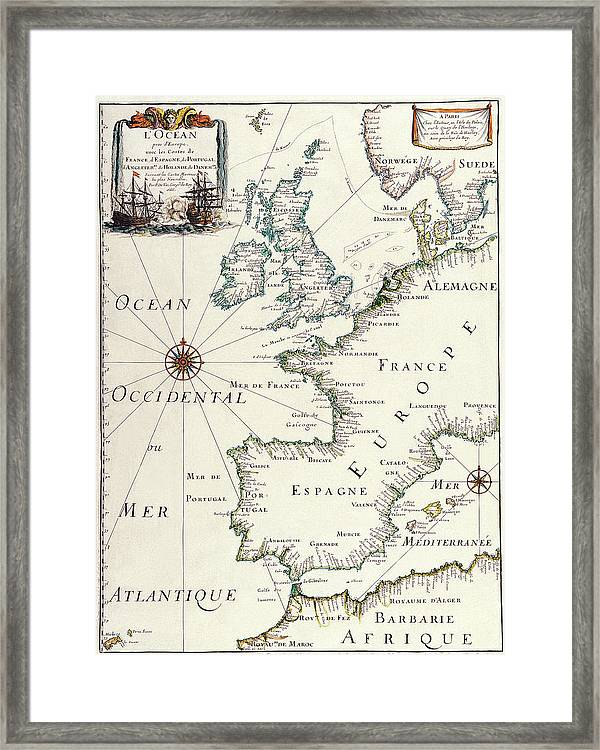 photograph relating to Printable Map of Western Europe named Antique Maps - Previous Cartographic Maps - Antique Map Of Western Europe Framed Print