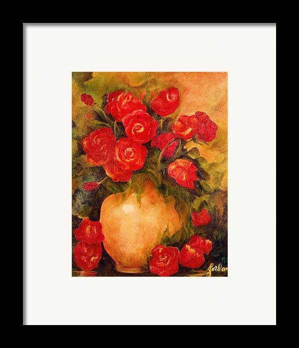 Pretty Framed Print featuring the painting Antique Roses by Jordana Sands