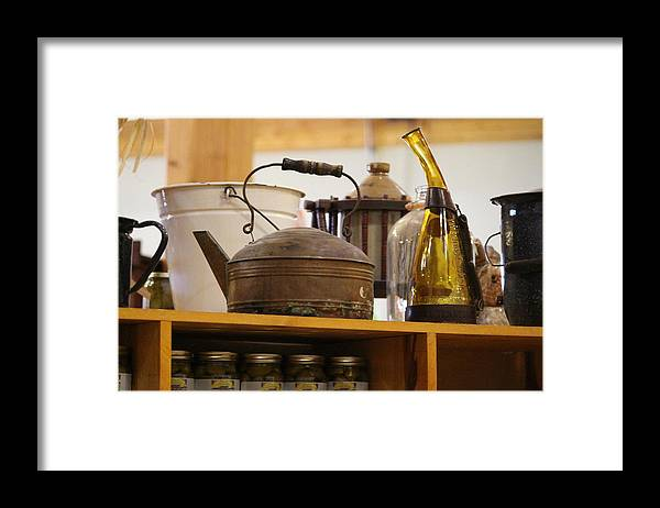 Antique Teakettle Framed Print featuring the photograph Antique Teakettle and Amber Bottle by Colleen Cornelius