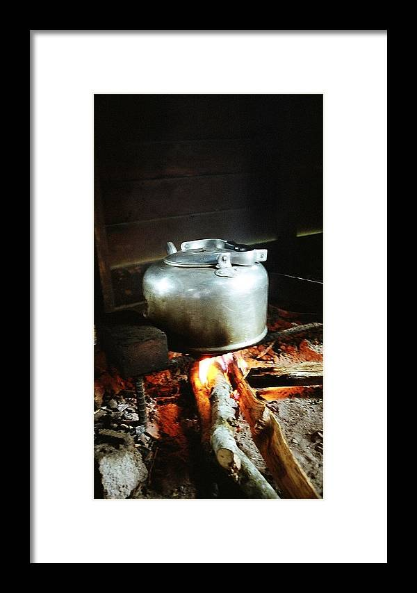 Antique Framed Print featuring the photograph Antique Water Kettle On A Fire In Malaysia by Gosta Eger