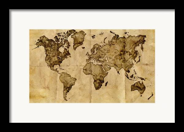 Antique world map framed print by radu aldea antique map framed print featuring the painting antique world map by radu aldea sciox Gallery