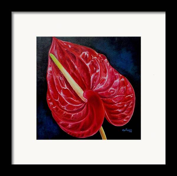 Flowers Framed Print featuring the painting Anturio by Elsa Gallegos