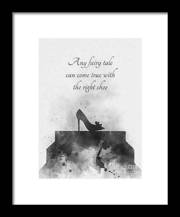 Cinderella Framed Print featuring the mixed media Any Fairy Tale Can Come True Black And White by My Inspiration