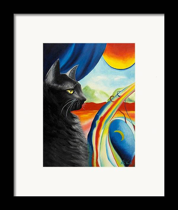 Surreal Cat Framed Print featuring the painting Any Time by Nela Vicente