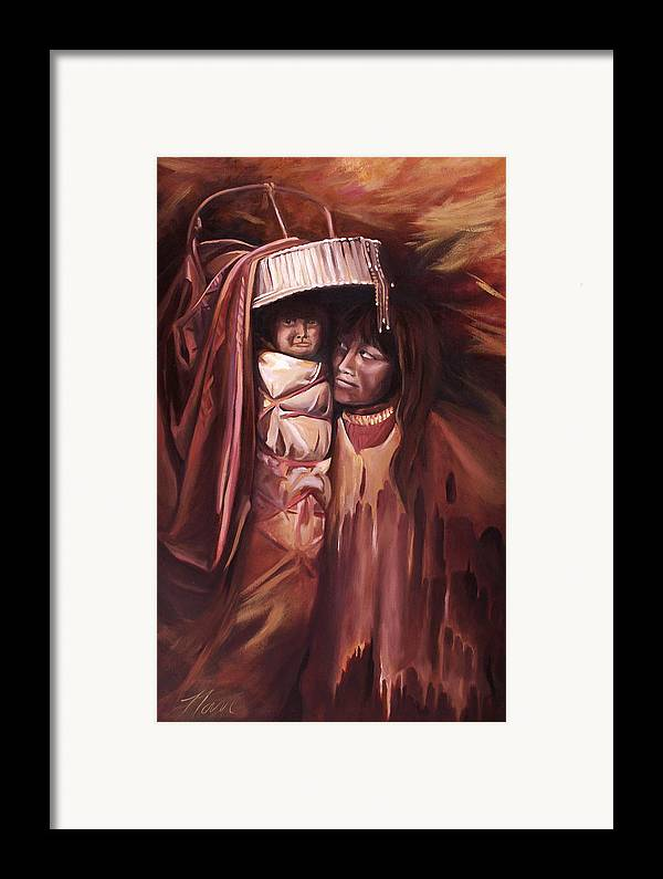 Native American Framed Print featuring the painting Apache Girl And Papoose by Nancy Griswold