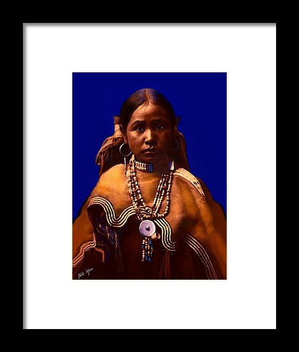 Native American Framed Print featuring the mixed media Apache Maiden by Tray Mead