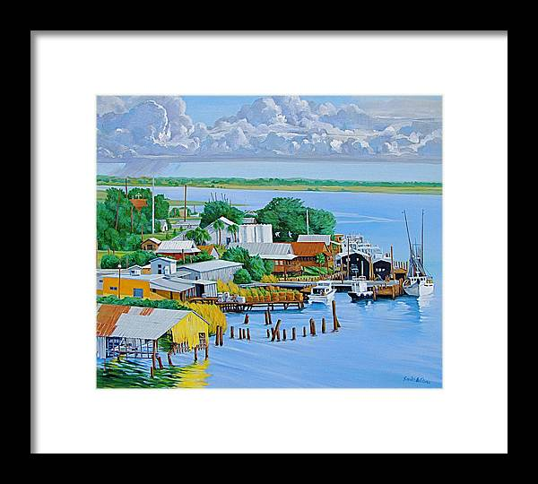 Waterfront Framed Print featuring the painting Apalachicola Waterfront by Neal Smith-Willow