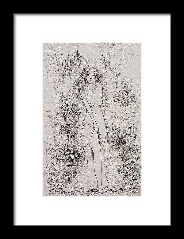 Aphrodite Framed Print featuring the drawing Aphrodite by Rachel Christine Nowicki