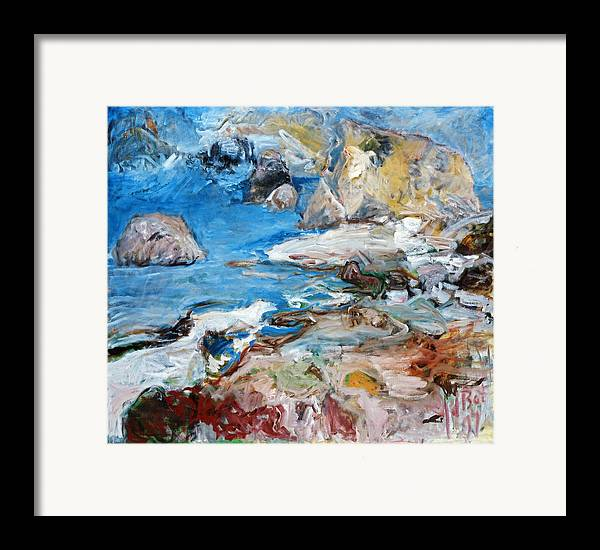 Landscape Sea Rocks Mythology Cyprus Framed Print featuring the painting Aphrodites Rock by Joan De Bot