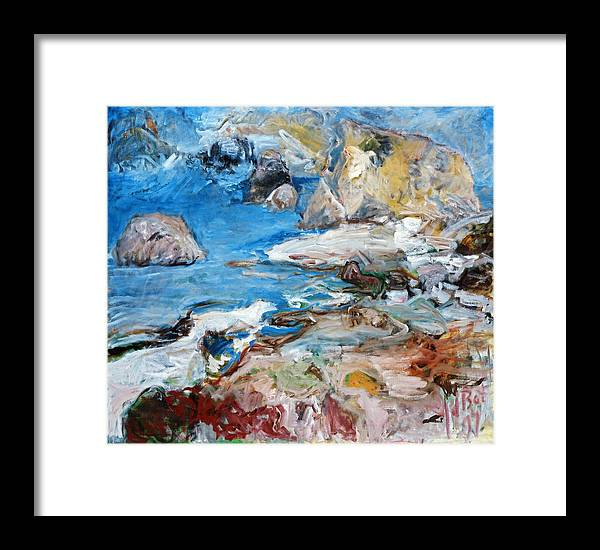 Landscape Sea Rocks Mythology Cyprus Framed Print featuring the painting Aphrodites Rock by Joan De Bot