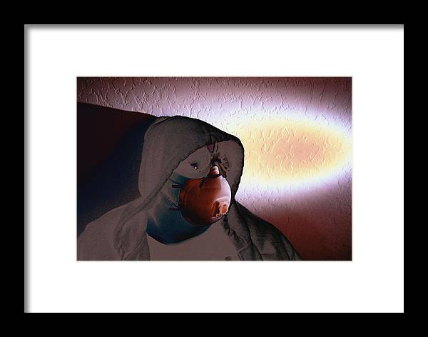 Cross Processing Photography Apocolypse Portrait Goggles Mask Face Light Humor Framed Print featuring the photograph Apocolypse Boy by Sean-Michael Gettys