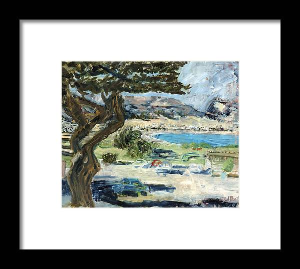 Tree Bay Leaves Shadow Cars Parking Place Hills Bushes Heat Framed Print featuring the painting Apollo Bay by Joan De Bot