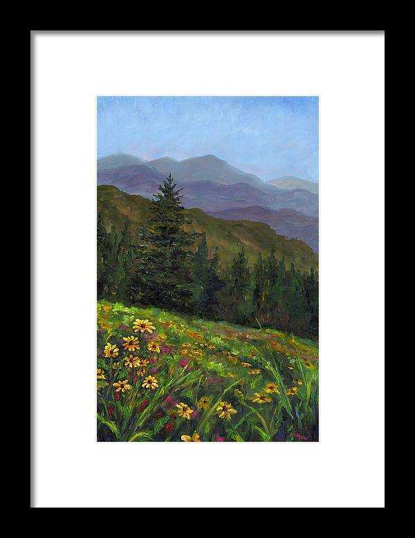 Wildflowers On The Mountain Hillside Of Blue Ridge Mountains Of Western North Carolina Near Ashevill Framed Print featuring the painting Appalachian Color by Jeff Pittman