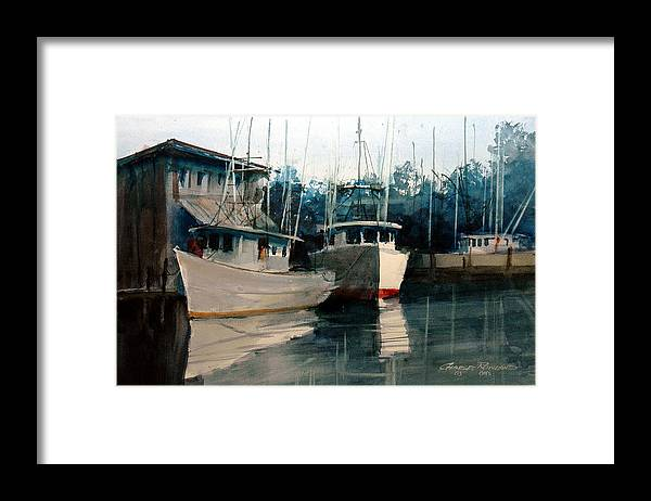 Apalachicola Framed Print featuring the painting Apalachicola Docks by Charles Rowland