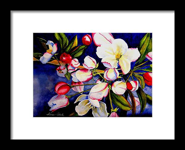 Apple Blossoms Framed Print featuring the painting Apple Blossom Time by Karen Stark