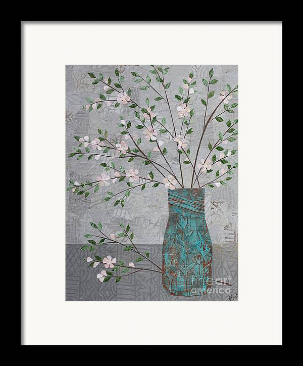 Art Collage Framed Print featuring the mixed media Apple Blossoms In Turquoise Vase by Janyce Boynton
