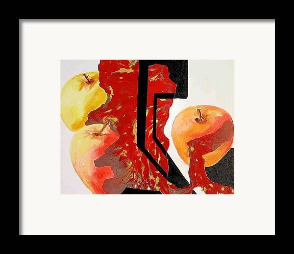 Apples Framed Print featuring the painting Apple Fantasy by Evguenia Men