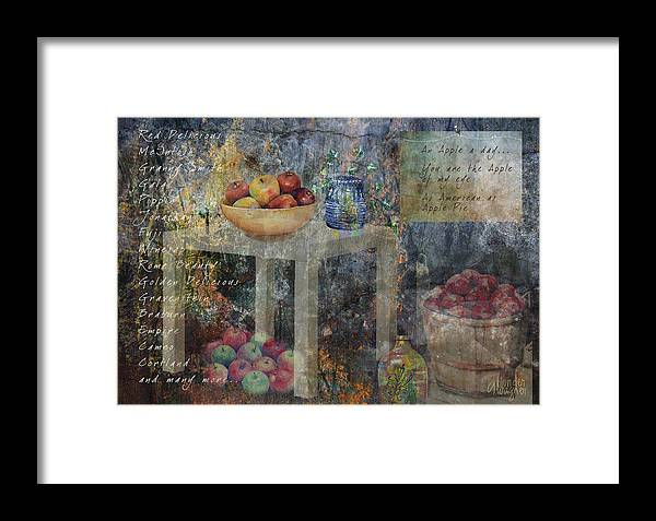 Apple Framed Print featuring the digital art Apple Montage by Arline Wagner