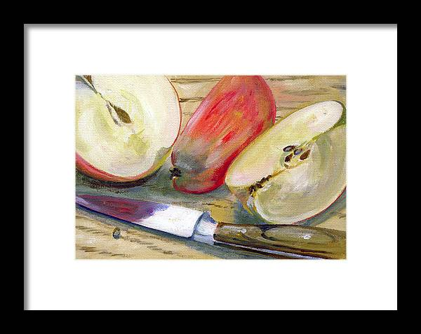 Still-life Framed Print featuring the painting Apple by Sarah Lynch
