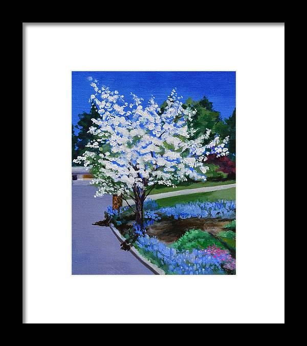Apple Tree Framed Print featuring the painting Apple Tree in Spring by Mary Chant