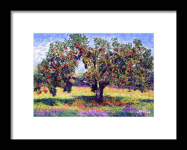 Tree Framed Print featuring the painting Apple Tree Orchard by Jane Small