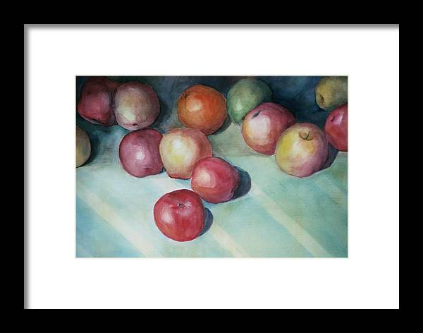 Orange Framed Print featuring the painting Apples And Orange by Jun Jamosmos