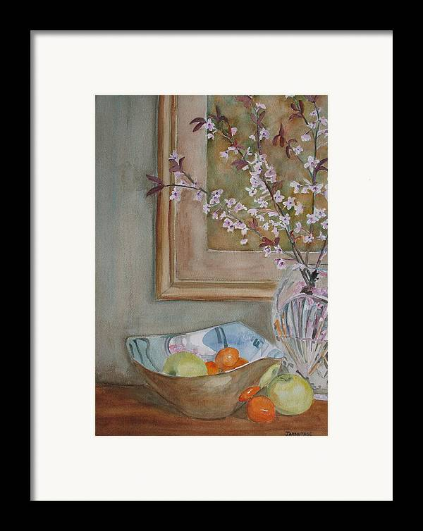 Apples Framed Print featuring the painting Apples And Oranges by Jenny Armitage