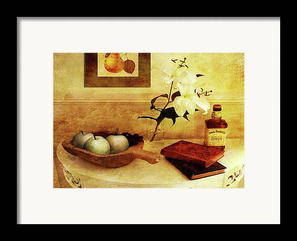 Apples Framed Print featuring the digital art Apples And Pears In A Hallway by Sarah Vernon