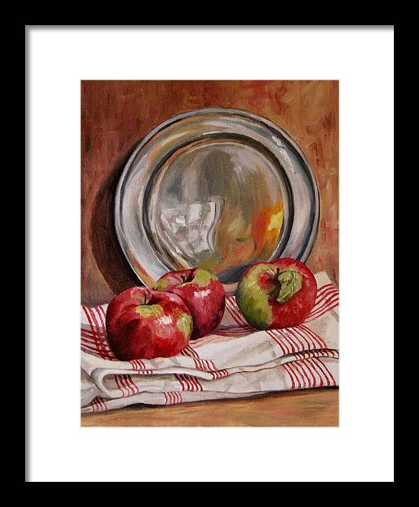Apples Framed Print featuring the painting Apples And Pewter by Cheryl Pass