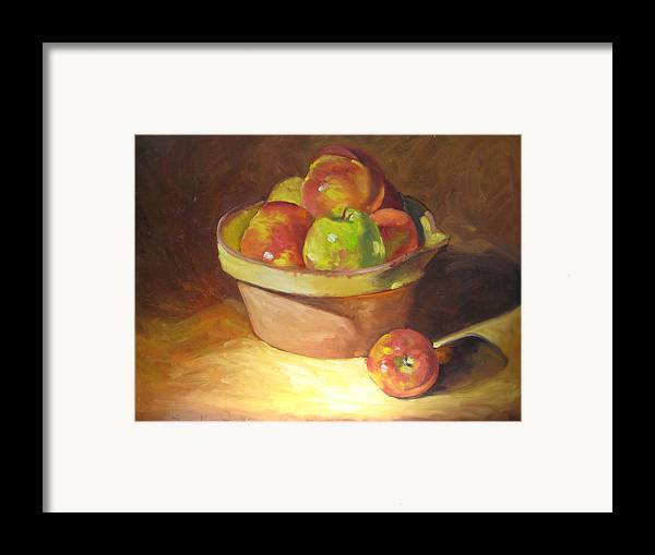 Stilllife Framed Print featuring the painting Apples In A French Bowl. by Susan Jenkins
