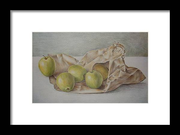 Drawing Framed Print featuring the drawing Apples In A Paper Bag by Jubamo