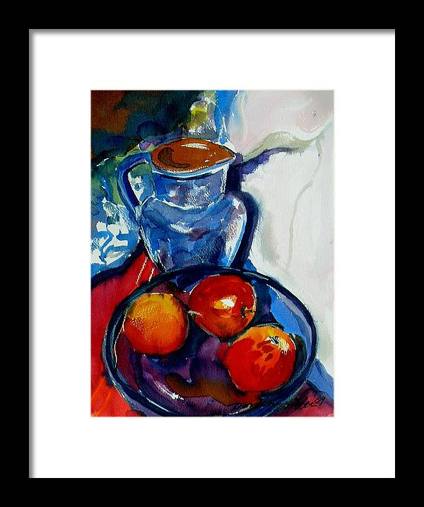 Still Life Framed Print featuring the painting Apples In Glass Bowl by Doranne Alden
