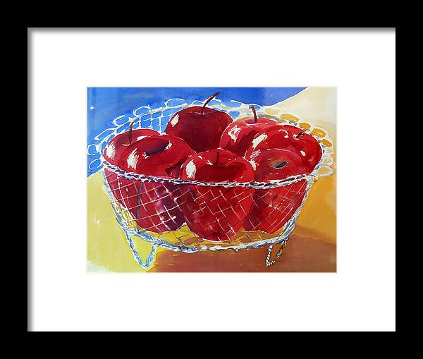 Apples Framed Print featuring the painting Apples In Wirebasket by Doranne Alden
