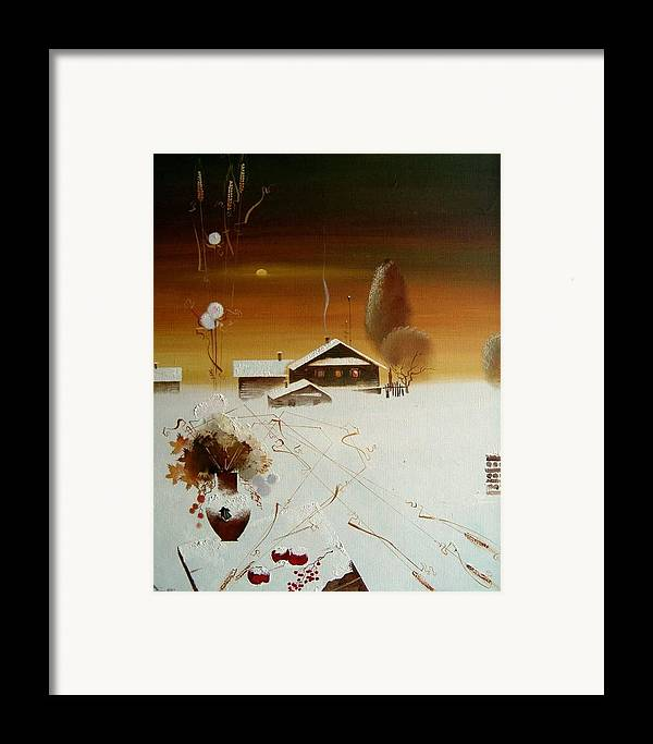 Still Life Framed Print featuring the painting Apples On The Snow by Andrej Vystropov