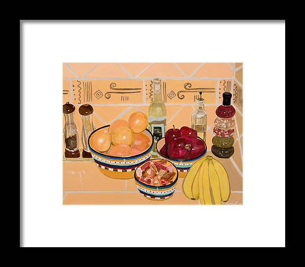 Still Life Framed Print featuring the painting Apples Oranges And Bananas by Arvin Nealy