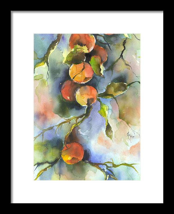 Apples Framed Print featuring the painting Apples by Robin Miller-Bookhout