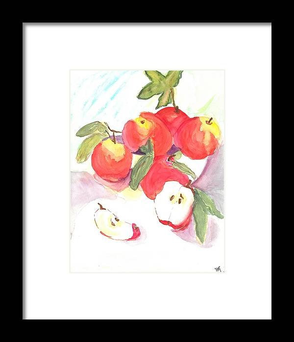 Apples Framed Print featuring the painting Apples by Susan Haddock
