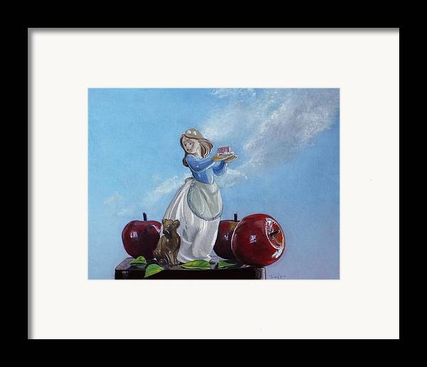 Apples With Figurine Framed Print featuring the painting Apples With Figurine by Robert Tracy