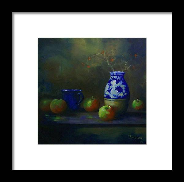 Vase Framed Print featuring the painting Apples With Vase by Tom Forgione