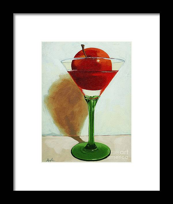 Still Life Framed Print featuring the painting APPLETINI - apple still life painting by Linda Apple